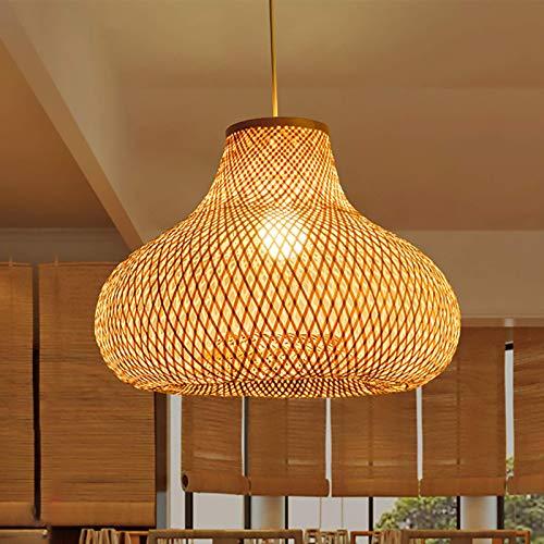 HIZH Vintage Deckenleuchte Bambus Deckenlampe Retro Kreative Pendelleuchte Höhenverstellbar Hängelampe Restaurant Beleuchtung Esszimmer Studie Industrial Deckenleuchte,50X50CM