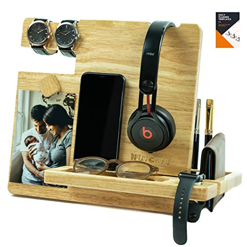 WUTCRFT - Wood Docking Station/Nightstand Organizer with Headphone Stand, Smart Watch Charging Slot, Photo Holder, and Accessory Holder, Perfect for Desk Organizer/Gifts for Men (Light)