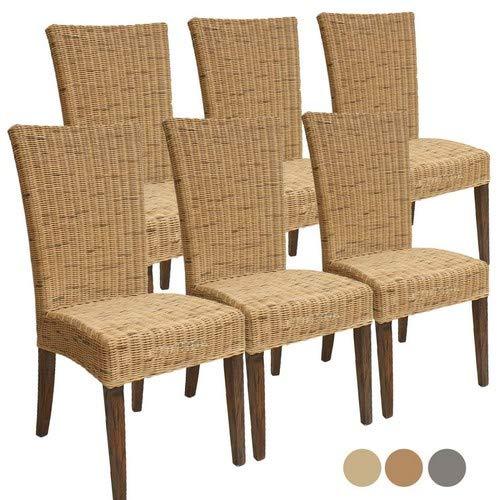 Casamia Rattanstuhl-Set Cardine 6 Stück Esszimmerstuhl mit Sitzkissen, Basalt, One Size