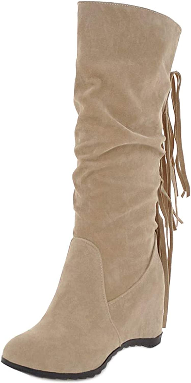 FizaiZifai Women Wedge Heel Mid Boots Pull On