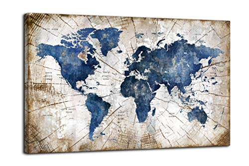 Large World Map Canvas Wall Art Abstract Navy Watercolor World Map With Vintage Driftwood Background Modern Framed Wall Decor for Living Room Bedroom Big Wall Decoration for Home Office Decor 36×48