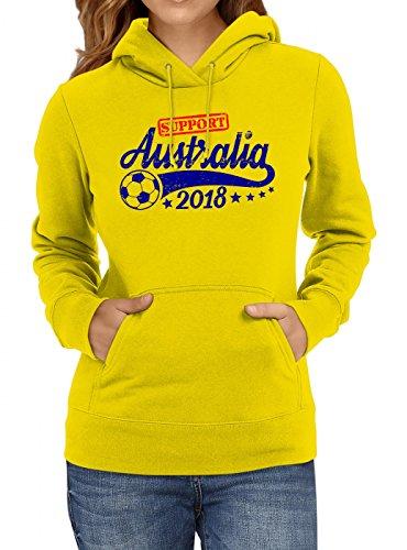 Shirt Happenz Australien Weltmeisterschaft 2018#25 Premium Hoodie Fan Trikot Fußball Weltmeisterschaft Nationalmannschaft Frauen Kapuzenpullover, Farbe:Gelb;Größe:M