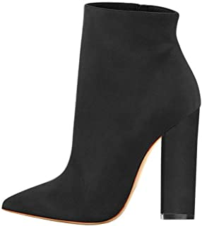Cdvintu Women Pointed Toe Ankle Boots 4.75 inches Block Chunky Heel Side Zipper Short Booties