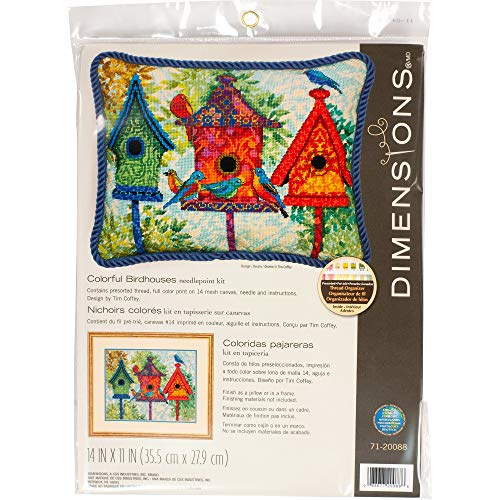 Dimensions Colorful Birdhouse Needlepoint Kit, 14 Mesh Printed Canvas, 11