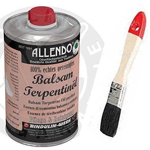 Balsam-Terpentinöl naturreines äther. Kiefernöl mehrfach rektifiziert inkl.1 Pinsel zum Auftragen von E-Com24 und 1 Paar Nitrilhandschuhe (500 Gramm)