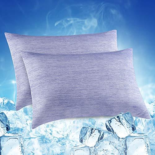 Elegear 2er Kühlender Kissenbezug Schont Haut und Haare Kopfkissenbezug - Duales Design Kissenhülle mit Premium Japanische Seide Kühlfaser Atmungsaktiv Superweicher Kissenbezüge (Blau, 50x75 cm)