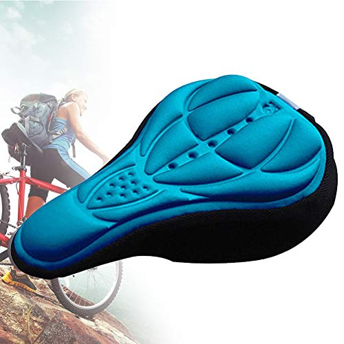 Sillín De Bicicleta del Asiento De Espuma Suave De La Bici Cubierta De Una Silla Cómoda Silla De MTB con Amortiguador De La Silla De Montar De Ciclo De Accesorios Azul