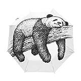 Paraguas de Viaje pequeño a Prueba de Viento al Aire Libre Lluvia Sol UV Auto Compacto 3 Pliegues Cubierta de Paraguas - Oso Panda Animal