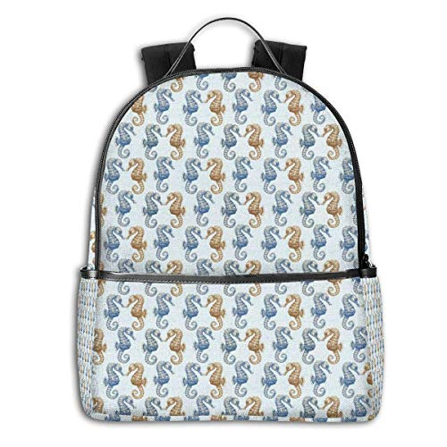 Rucksäcke Taschen Daypacks Wanderrucksäcke, College Backpacks for Women Girls,Swirling Victorian Inspired Royal Symbol Flowers for Aquarius Icon Retro Art Image,Casual Hiking Travel Daypack