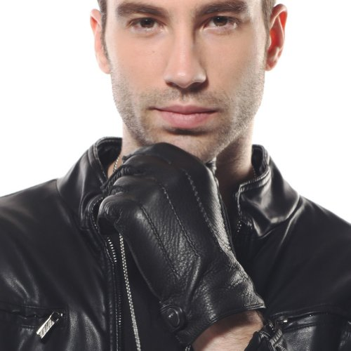 ELMA Men's Deerskin Leather Winter Driving Cashmere Lined Gloves (M (New), Black)