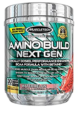 MuscleTech Amino Build Next Gen Energy Supplement, Formulated with BCAA Amino Acids, Betaine, Vitamin B12 & B6 for Muscle Strength & Endurance, Watermelon, 30 Servings (282g)
