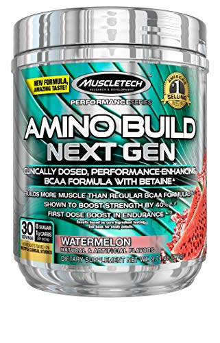 BCAA Amino Acids and Electrolyte Powder, MuscleTech Amino Build, 7g of BCAAs and Electrolytes, Support Muscle Recovery, Build Lean Muscle & Boost Endurance, Watermelon (30 Servings)