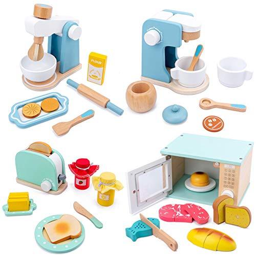 Comida de juguete, juego de comida de madera para niños con juegos de mesa de panadería Let's Pretend – Juguetes de madera perfectos, juego de rol de cocina juguete