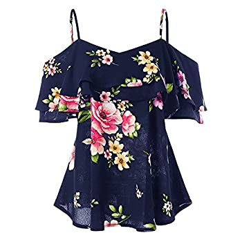 Blouses for Women Floral Printing Off The Shoulder Shirt Strapy Sleeveless Vest Tank Tops Blouse Navy