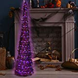 Halloween Tree with Lights, Artificial Tinsel Twist Halloween Christmas Tree Battery Operated for Indoor & Outdoor, Halloween Party Decoration (4.9FT, Purple)
