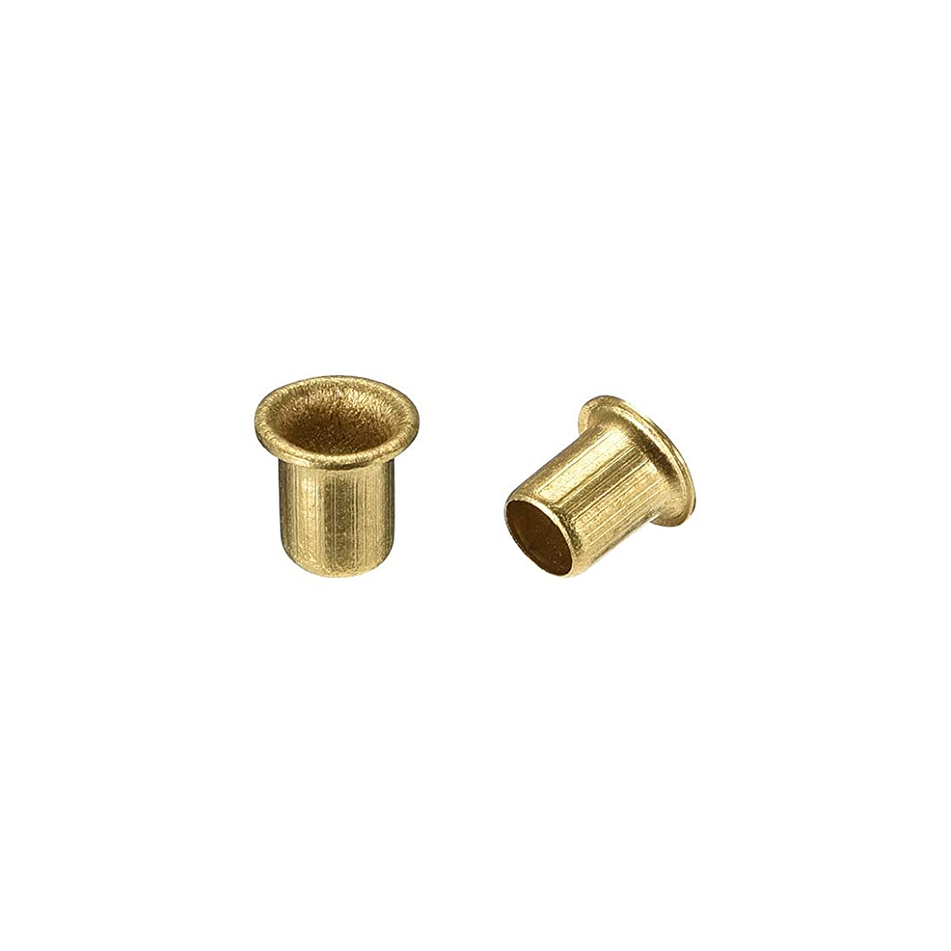 uxcell Hollow Rivet,5mm x 6mm Through Hole Copper Hollow Rivets Grommets Double-Sided Circuit Board PCB 100Pcs
