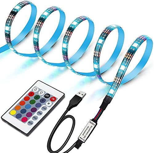 LUNSY LEDテープライト LEDテレビバックライトキット PC照明 USB接続 リモコン付き カラー選択 両面テープ...