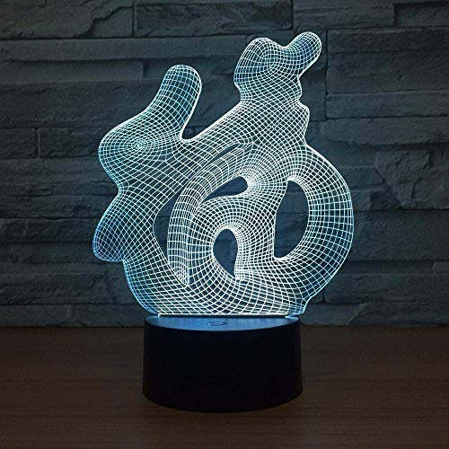 Luz Nocturna 3D Caracteres Chinos 3D Bendición Fu Visión Usb Interruptor Táctil Led Luz Nocturna Colorida Lámpara De Mesa Sueño Del Bebé Interruptor Táctil De Luz Nocturna 3D