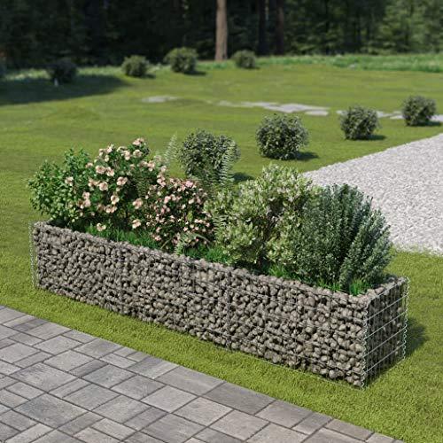 UnfadeMemory Jardinera Exterior,Gaviones de Piedra,Muro de Gaviones,Decorativos para Jardin Patio,Acero Galvanizado,Plateado (270x50x50cm)