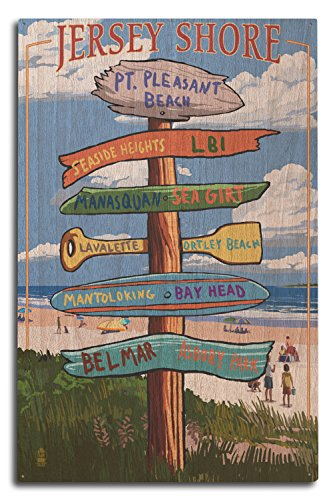 Lantern Press Pt. Pleasant Beach, New Jersey, Destinations Sign Wood Wall Sign (10x15 Rustic Home Decor, Ready to Hang)