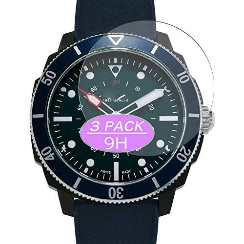 Vaxson 3 Stück 9H Panzerglasfolie, kompatibel mit Alpina Seastrong Horological 44mm Smartwatch Hybrid Watch, Panzerglas Schutzfolie Displayschutzfolie Bildschirmschutz