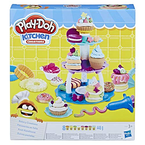 Play-Doh Kitchen Creations Bakery Creations Play Food Set with 8 Non-Toxic Play-Doh Colours, 2-Ounce Cans