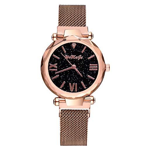 Reloj de Mujer de Moda Imán de Hierro de succión Cinturón de Malla de Milán Reloj de Mujer Gypsophila Reloj de Mujer Rojo-Oro Rosa