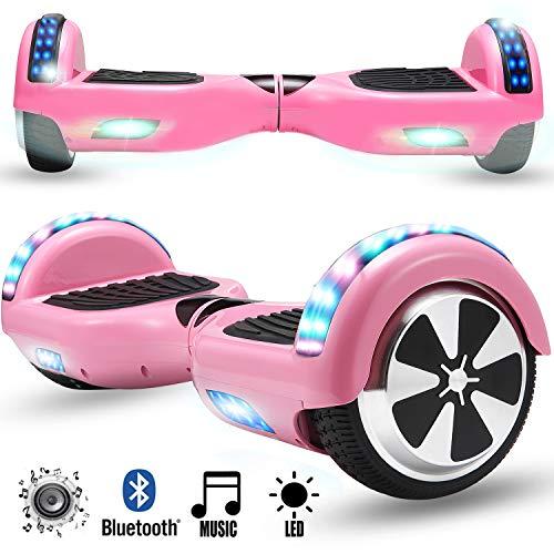 Magic Vida Skateboard Électrique Rose 6.5 Pouces avec Haut Parleur Bluetooth et LED...