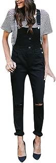 iLUGU Women Loose Denim Bib Hole Pants Overalls Jeans Demin Trousers Black Leggings for Women Jumpsuit