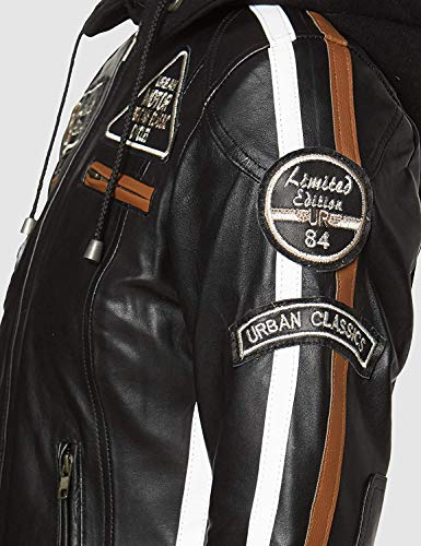 Urban Leather Damen Motorradjacke mit Protektoren, Schwarz, L - 3