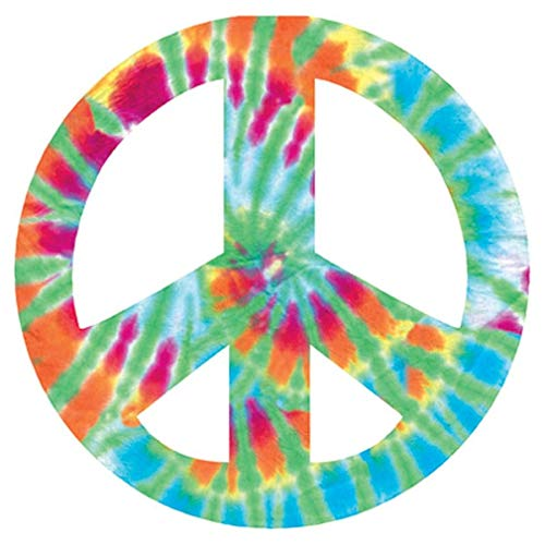 """Paper House Productions 3.5"""" Die-Cut Tie-Dye Peace Sign Shaped Magnet for Cars, Refrigerators and Lockers"""