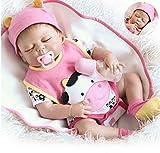 Sleeping Reborn Baby Dolls Girl Silicone Full Body Realistic Reborn Girl Doll 18 inch Eyes Closed Anatomically Correct Silicone Newborn Baby Doll