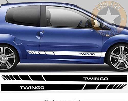 myrockshirt Seitenstreifen Set beidseitig Renault Twingo ca.180cm Aufkleber,Sticker,Decal,Autoaufkleber,UV&Waschanlagenfest,Profi-Qualität