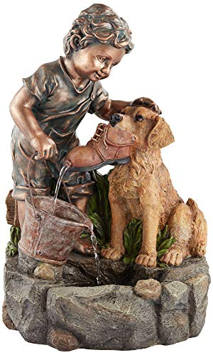 John Timberland Northport Modern Outdoor Floor Water Fountain 24 3/4' High Cascading Boy Plays with Dog for Yard Garden Patio Deck
