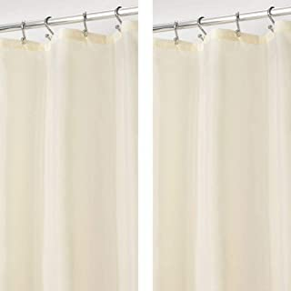 mDesign - 2 Pack - Extra Long Water Repellent, Mildew Resistant, Heavy Duty Flat Weave Fabric Shower Curtain, Liner - Weighted Bottom Hem for Bathroom Shower and Bathtub - 72