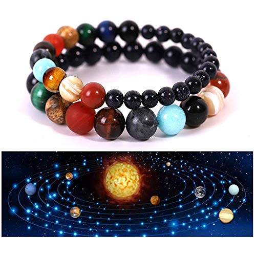 Pulsera del sistema solar, paquete de 2 chakras piedra natural con ocho universo planetario, pulsera cielo estrellado, luna cristal azul hecha a mano para hombres y mujeres