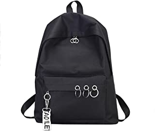 Fashion Ring Decoration Shoulder Bookbags, Outsta Women's Satchel Travel Backpack Messenger Classic Basic Casual Daypack Travel (Black)