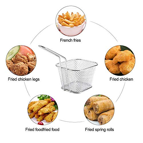 Huajian Mini Fry Basket Mini Fry Basket Square Fryer Basket Present Fried Chip Food, Table Serving (8)