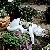 Lazy Cat Statue Dekoration,Harz Garten Landschaftsbau Dekoration Hof Balkon Blumenständer Dekoration Cat Statuen Geschenk Zuhause Dekoration