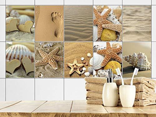 GRAZDesign Fliesenaufkleber Bad 15x20cm Strand Sand Muscheln braun, Fliesensticker Fliesen zum Aufkleben Klebefolie für Badfliesen/Set 10 Stück