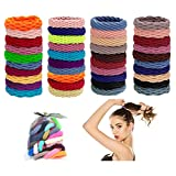 Hair Ties for Women 40Pcs, AuroTrends Seamless Elastic Rope Hair Bands for Women, Multicolor Girl Kids Mixed Color Elastic Hair Ties for Thick Hair with Gift Bag (40Pcs, 20Colors)