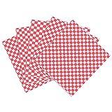 OUNONA 100 Sheets Checkered Deli Basket Liner Papel para envolver alimentos, resistente a la grasa, envoltura de hamburguesa sándwich, rojo y blanco