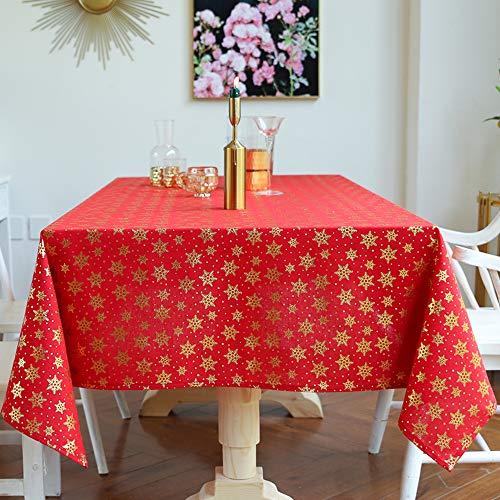 Carvapet Manteles Rectangular Manteles Algod¨®n Lino Mantel Rojo Navidad Manteles para Cocina Comedor Mesa Buffet Decoraci¨®n (Copo de Nieve, 140x200CM)