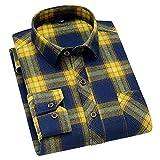 HDDFG Hombres Primavera Otoño 45% Camisa a cuadros de algodón Casual Saludable Transpirable Manga larga Camisas delgadas (Color : C, Size : L code)