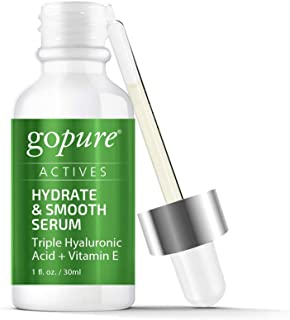 goPure Actives Hyaluronic Acid Serum with Vitamin E & C for Anti Aging Face Serum Intensely Hydrates & Smoothes Appearance of Deep Wrinkles, Fine Lines, Dark Spots & Acne Scars - Cruelty Free