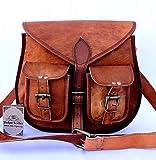 VENTA 2019- Último DíA! Auténtico vintage Piel bolso de bandolera hecho a mano para mujeres con bolsillos frontales, 10 x 13 pulgada, 100% cuero puro, con envío gratis