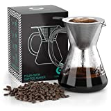 Pour Over Coffee Dripper - Coffee Gator Paperless Pour Over Coffee Maker - Stainless Steel Filter and BPA-Free Glass Carafe - Flavor Unlocking Hand Drip Brewer - 10.5oz - Black