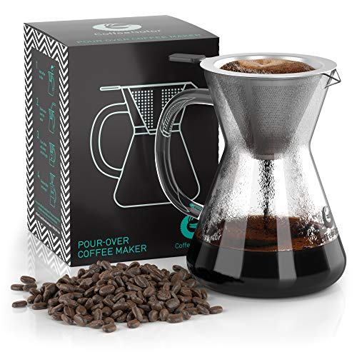 Coffee Gator Caffettiera 'Pour Over' con filtro permanente in acciaio inox e caraffa. Dripper per fare il caffè (400ml)