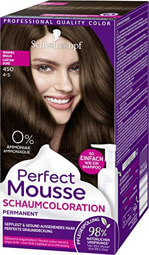 SCHWARZKOPF PERFECT MOUSSE Permanente Schaumcoloration 450 Warmes Braun Stufe 3, 3er Pack (3 x 92,5 ml)