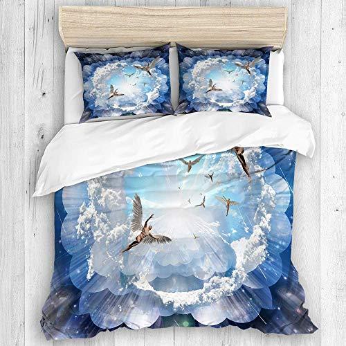 AQL Parure de lit avec Housse de Couette en Microfibre,Surréalisme des Hommes Nus avec des Ailes représentent des Anges,1 Housse de Couette 200 x 200 CM + 2 Taies d'Oreillers 50 x 75 CM